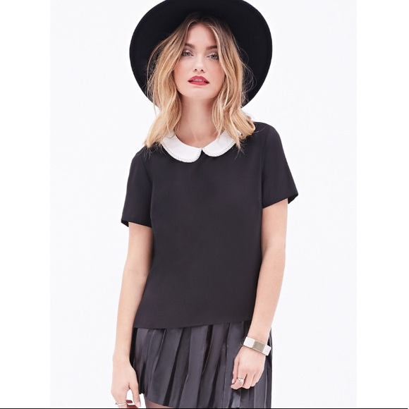 3f1f9e913c0fd Forever 21 Tops - Black Beaded Peter Pan Collar Shirt